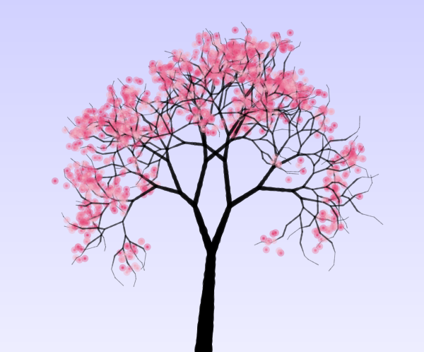 Blossom Tree Drawing: Claudia Schiffer: Cherry Tree Blossom Drawing