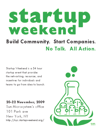 Startup Weekend promotional flyer