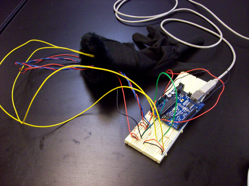 Image of breadboard and glove
